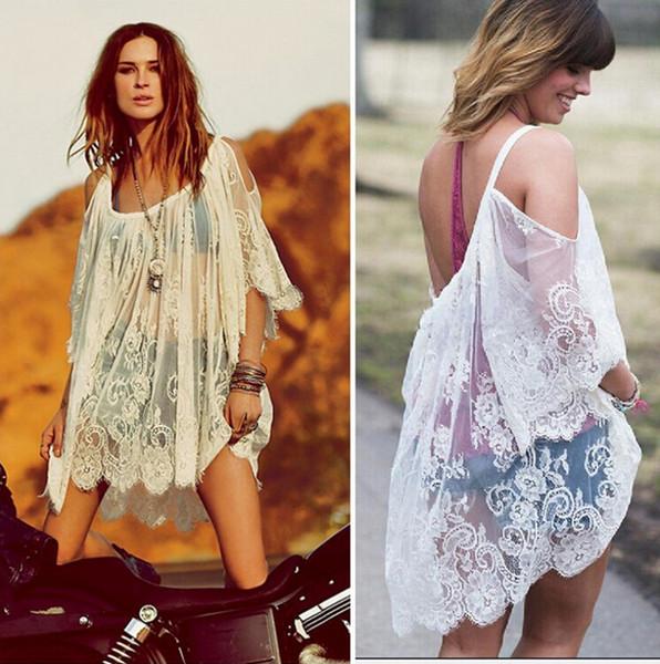 3526f30e0e4e8 White Lace Beach Cover Up Bikini Cover Up BeachWear Plus Size Women Sexy  Lace Blouse Shirt