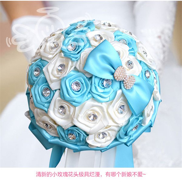 Beautiful Blue Ivory Bridal Bridesmaid Flower wedding bouquet artificial flower rose bouquet Crystal bridal bouquets