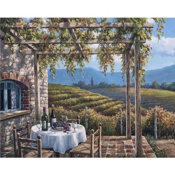 Compre Coloridas Pinturas Al óleo Jardín Por Sung Kim Paisajes Costeros Viñedo De Terraza Hecha A Mano De Arte Moderno Para La Decoración De Pared A