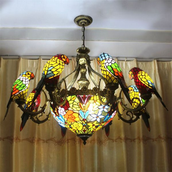 Fumat parrots tiffany stained glass pendant lamp vintage style fumat parrots tiffany stained glass pendant lamp vintage style chandeliers glass suspension light dining room pendant mozeypictures Image collections