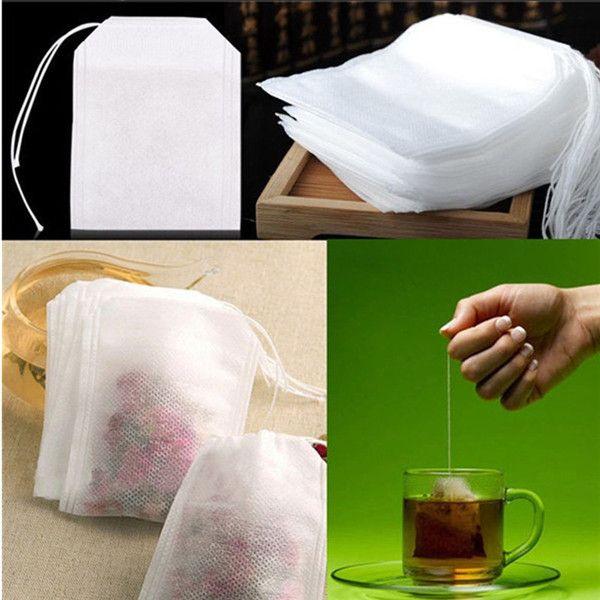 Colini da tè 1000 Pz / lotto 5,5 x 7 cm non-tessuto bustine di tè vuote con stringhe Heal Seal filtro carta per erba tè sfuso Drinkware F429