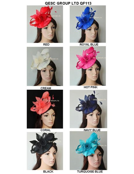top popular New Arrival.Exclusive design sinamay Fascinator hat with feather flowers&sinamay loops for Melbourne cup,Wedding,Kentucky Derby,church 2019