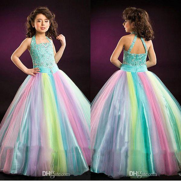 best selling Rainbow Glitz Girls Pageant Dresses Halter Neck Crystal Sleeveless Kids Ball Gowns Floor Length Teens Prom Dress