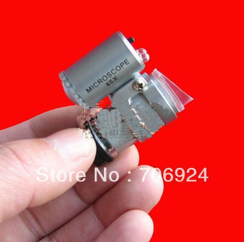 Wholesale New Mini 45X 45 2-LED Pocket Microscope Magnifier Loupe Endoscope with LED Light +Black leather case 250pcs