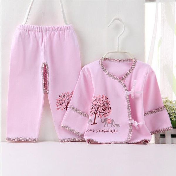 2017 Newborn Baby 0-3M Boy Girl warm Clothes set Natural Soft Cotton 2pcs/lot shoulder buttons Autumn Underwear baby set