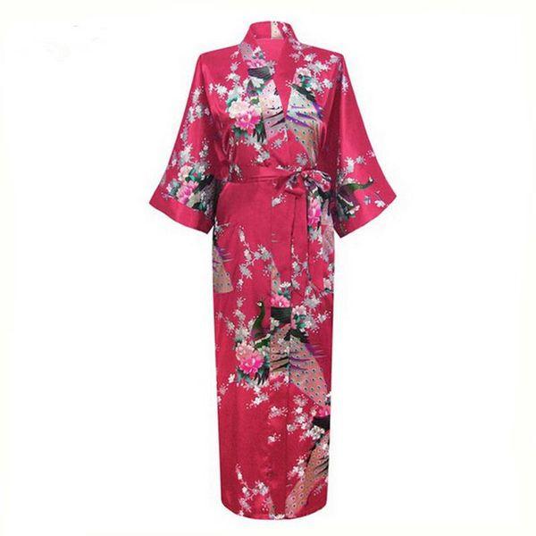 Wholesale-Sexy Charming Long Faux Silk Robe Gown Casual Nightgown Print Peacock&Flower Sleepwear Plus Size S-XXXL NR025