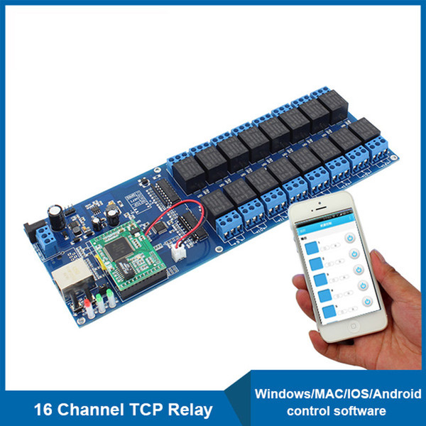 ethernet network relay board remote control switch 16 channel industrial network relay with tcp interface usr
