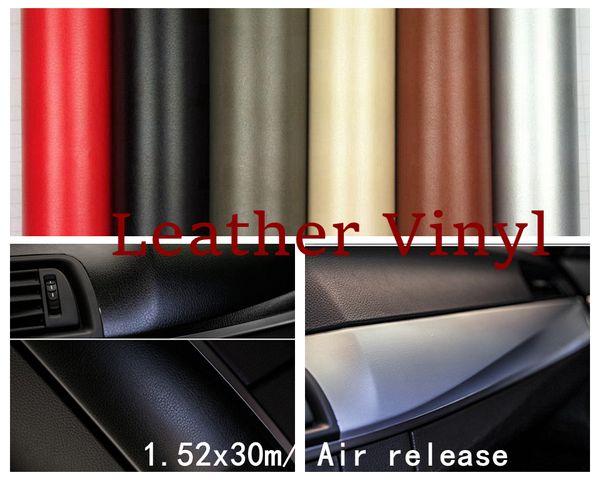 Черный / коричневый / красный / серый серебряный кожаный автомобиль пленка обруча автомобиля нутряная внешняя кожа обруча винила с воздушным пузырем освобождает 1.52 * 30m / Roll