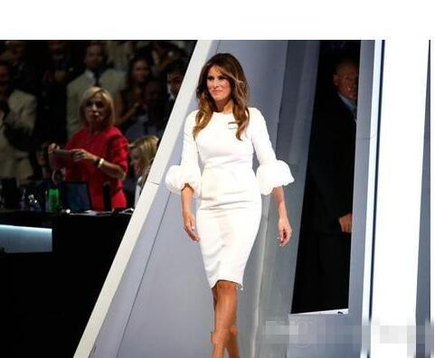 Melania Trump Little White Celebrity Evening Dresses Baloon Sleeves And Back Split Knee Length Prom Cocktail Party Gowns 2017 Cheap