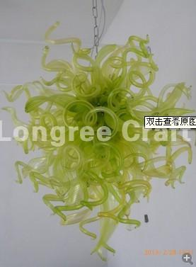 C97-Wedding Decor Green Coloured Blown Glass Chandelier Lighting Hanging Chain LED Crystal Flower Glass Chandelier for Sale