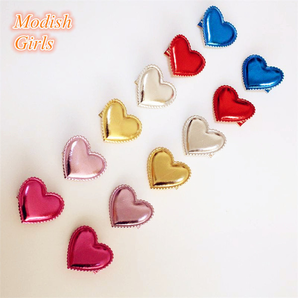 Love Heart Design Shinning PU Hair Clips 30pcs/lot Synthetic Leather Baby Girls Barrettes Bestseller Felt Kids Jewelry Hairpins