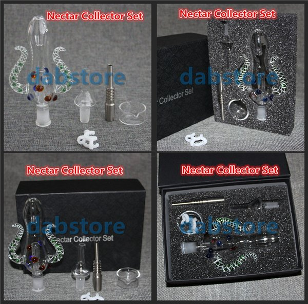 WHOLESALE Nectar Collector kit KITS honey straw Glass pipe water pipes 2.0 NECTAR COLLECTOR HONEY STRAW KIT OIL DABBER WITH GIFTBOX