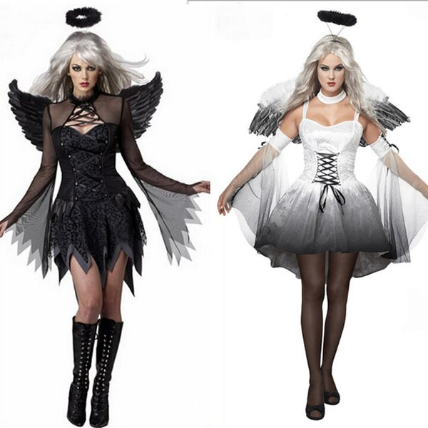 2017 Halloween Costumes For Women Fantasy Cosplay Party Fancy Dress Adult White Black Fallen Angel Costume With Angel Wings RF0095