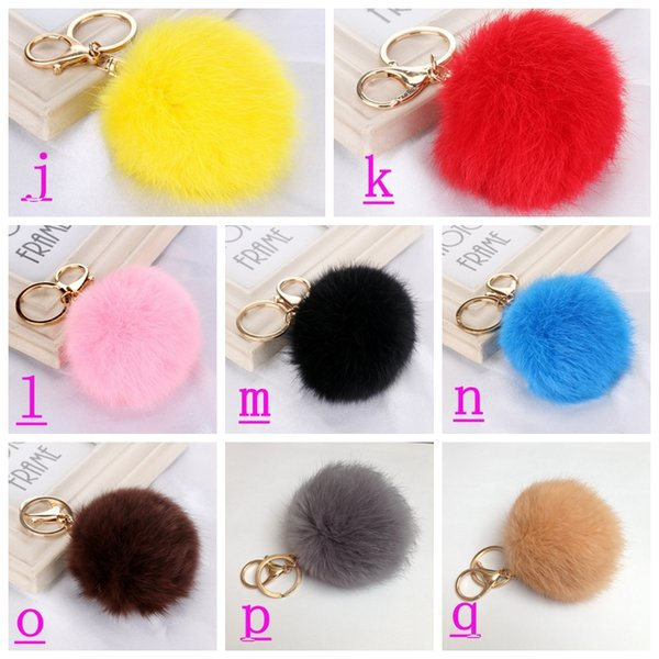 Buy Downy Fluffy Gold Key Ring For Choose Rabbit Fur Ball Keychain ...