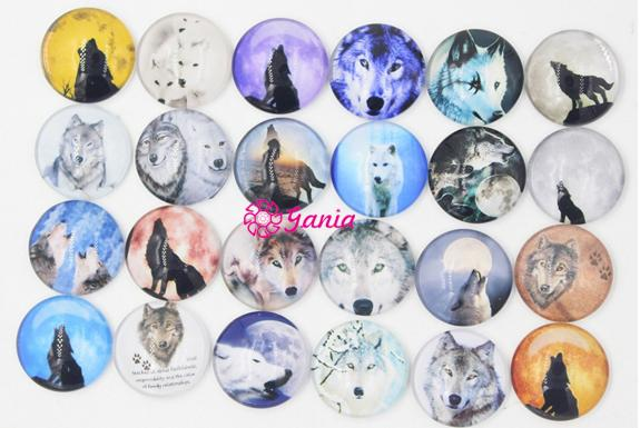 top popular DIY Interchangeable 18mm Cabochon Glass Stone Buttons Animal Wolf Button for Snap Jewelry Bracelet Necklace Ring Earrings 2021