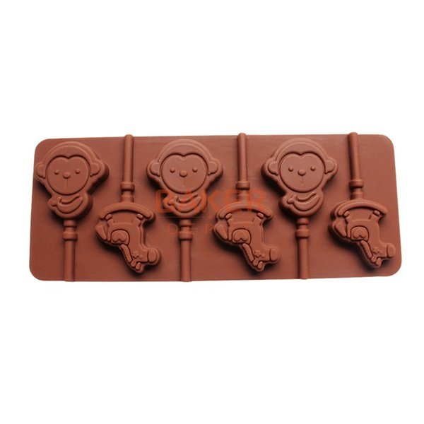 Wholesale- DIY tools supply 6 hole monkey lollipop mold DIY silicone chocolate mold with stick CDSM-180