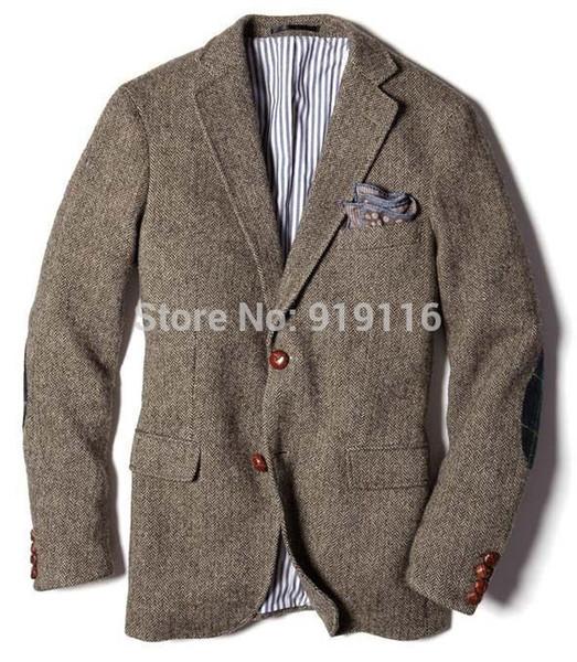 2016 tweed Wool Herringbone Tuxedos Actual Images British style custom made Mens suit slim fit Blazer wedding suits for men(jacket only)