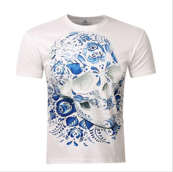 2016 best-selling man 3 d skull printing T-shirt quality cotton short sleeve T-shirt Fashion tee printed t-shirts wholesale free shipping