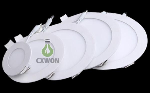 LED luces del panel Lámpara empotrada 3w / 6w / 9W / 12W / 15W / 18W Redondo luces del techo hacia abajo para luces interiores 85-265V + Led Driver