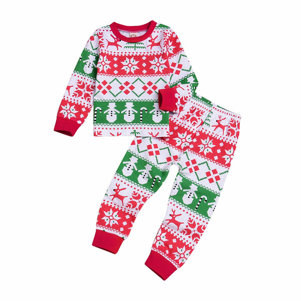 Mikrdoo 2PCS Christmas Toddler Baby Boy Girl Pajamas Outfits Kids Cotton Homewear Sleepwear Clothing Set For Age 1-6T