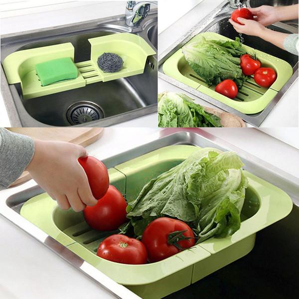New Brand Fashionable Scalable Dish Rack Kitchen Shelf Vegetable Drain Grid Kitchen Tool E5M1 order<$18no track