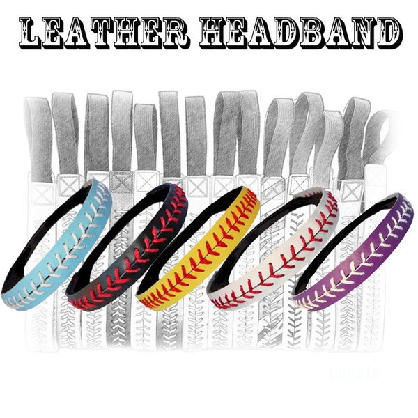 Sport Headbands - Leather with Stitching Seam Fastpitch Stretch Elastic Sport hair band 20 color in stock free DHL