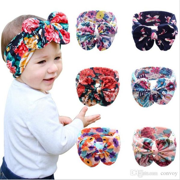 2016 New Baby Girls Floral Headbands Big Bows Kids Newborn Big Wide Bowknot Head bands Children Cotton Hair Accessories Headdress KHA395