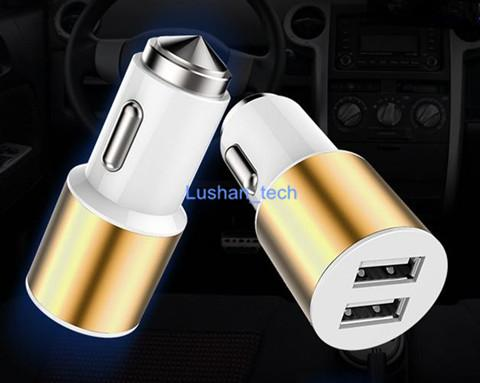 Car Charger Dual USB Charger with together Safety Hammer Input DC12-24V/Output DC 5V 3.1A Emergency Hammer
