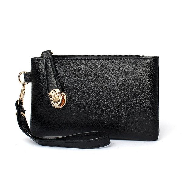 PU Shoulder Bag Women Casual Black Leather Hand Bag Package Wallet Leisure Convenience Waterproof Line Women's Hand-Held Female Bags
