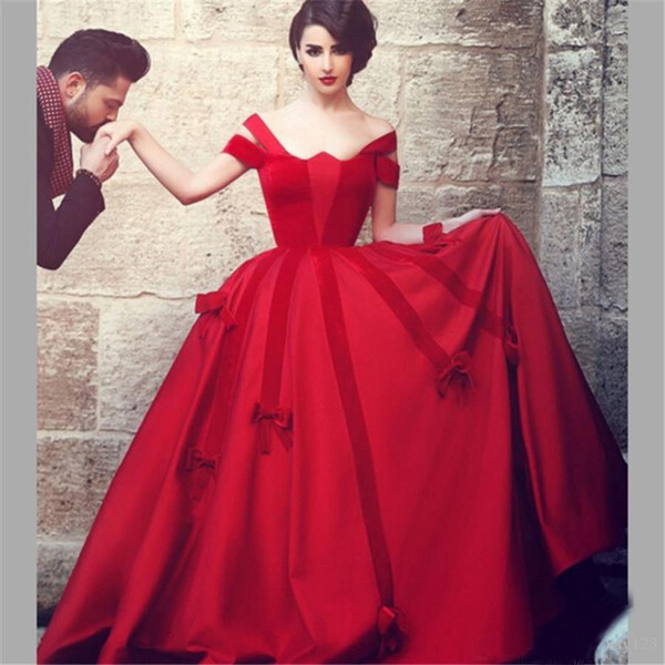 Sais Mhamad Red Prom Dresses Ball Gown Cap Sleeve Satin Velvet Long Evening Dresses High Quality Princess Dancing Wear Women Party Gowns