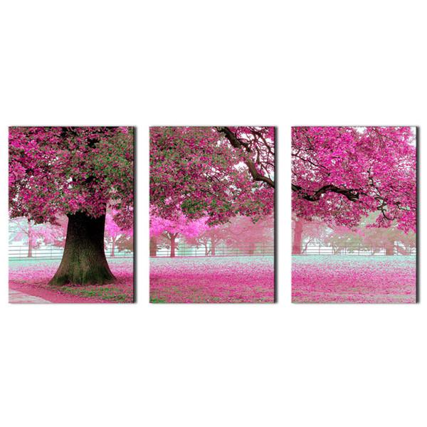 Печать на холсте Wall Art Живопись Для Домашнего Декора Фиолетовые Цветы На Дереве 3 Шт. Панно Картины Картина Для Украшения Гостиной