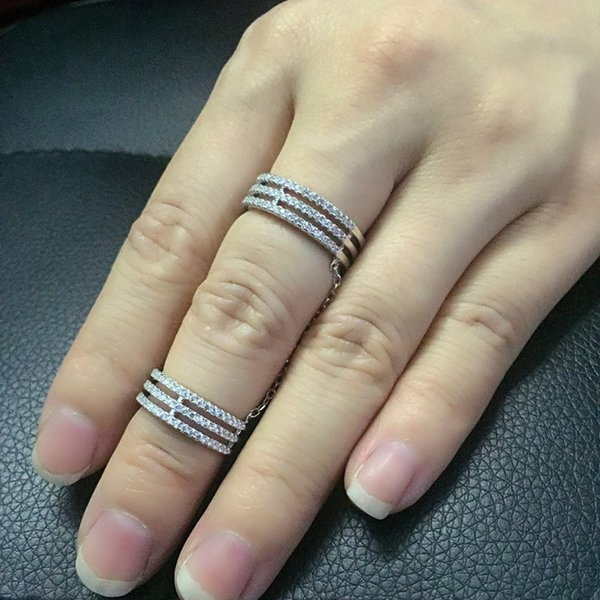 925 Sterling silver Double tire ring Chain ring Wholesale silver