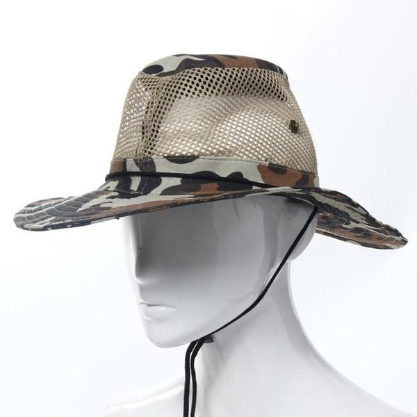 Wholesale-Hot marking 2016 Fashion Outdoor Mesh Sunshade Fishing Bucket Hat Cap N8