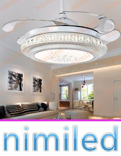 "top popular nimi896 42"" Modern LED Invisible Ceiling Fan Light Lights Living Room Restaurant Bedroom Crystal Pendant Lamp Chandelier Remote Control 2021"