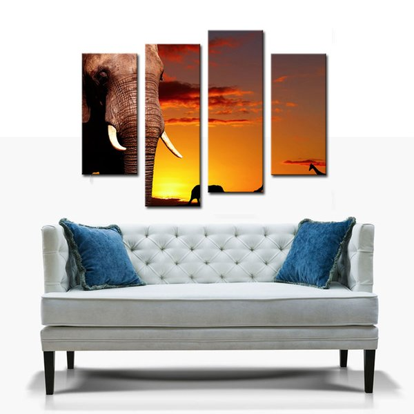 4 Picture Combination Wall Art African Elephant In Savanna At Sunset Tree Giraffe Painting Pictures Print On Canvas Animal