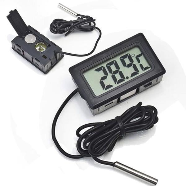 top popular Professinal Mini Digital LCD Probe Aquarium Fridge Freezer Thermometer Thermograph Temperature for Refrigerator -50~ 110 Degree FY-10 2021