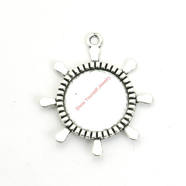 12pcs Antique Silver Plated Rudder Photo Frame Charms Pendants for Bracelet Jewelry Making DIY Necklace Craft 40x36mm
