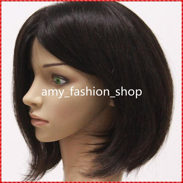 Short Bob Hair Wigs For Black Women Natural Color Silk Straight Human Hair Wigs Bob Style Glueless Full Lace Wig With Baby Hair
