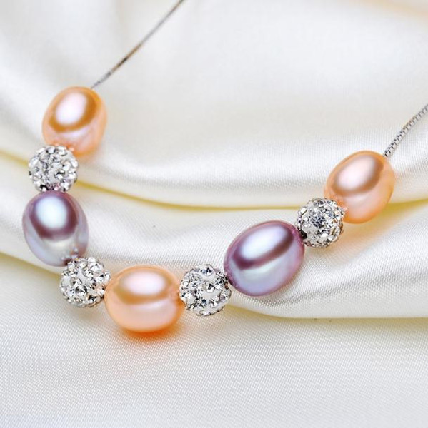 8-9mm Water Drop Type Natural Freshwater Pearl Necklace 925 Silver