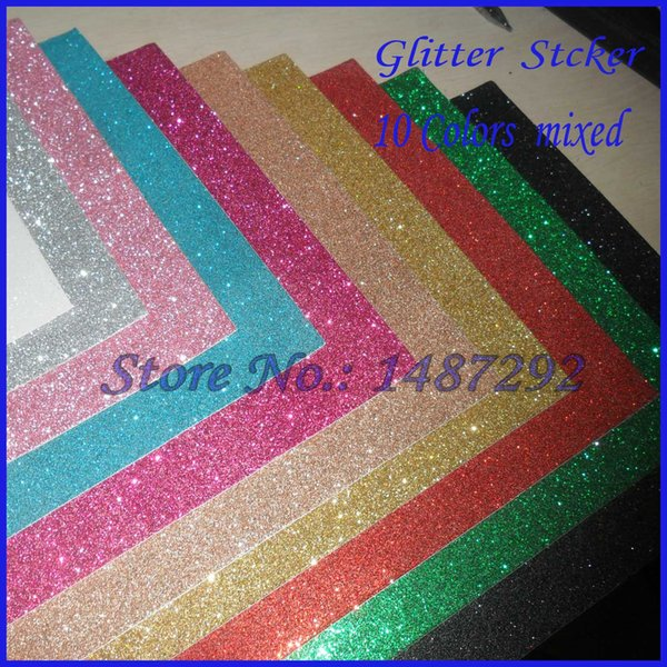 (New Arrival:10 pieces/Set)Free shipping,Glitter paper sticker,for Scrapbooking,Photo ablum,DIY Craft decoration,10 colors mixed