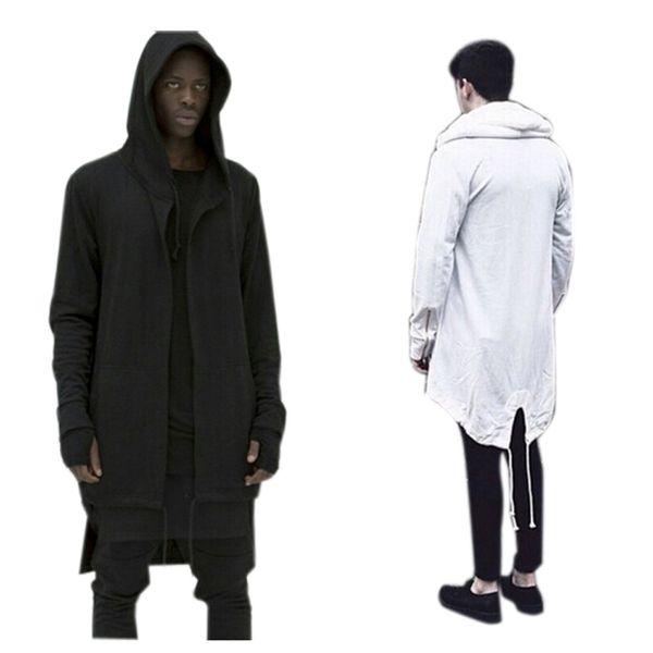 Wholesale-2016 Mens Hooded Outwear Plus Long Hoodies Overcoat Dovetail Cardigan Hiphop Men Cloak Oversize Streetwear