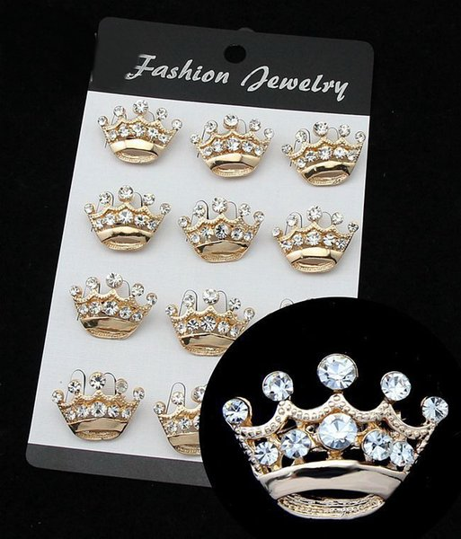 Hot Selling Silver Tone Clear Crystal Small Crown Pin Brooch Very Cute Alloy Women Collar Pins Wedding Bridal Jewelry DHL free shipping