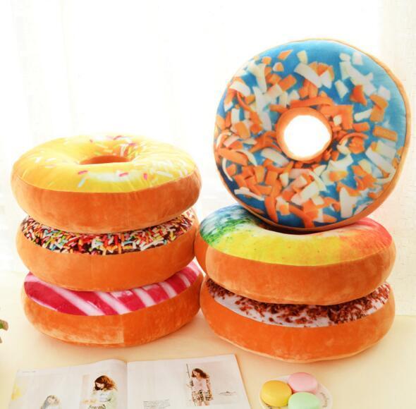 Anillo en forma de rosquilla rellena Almohada rellena Felpa Cojín suave Juguete Colorido Donut Pizza Cojín Decorativo Almohada Silla Sofá