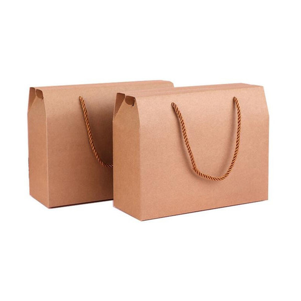 20*25*10cm Retro Kraft Paper Gift Handle Box Candy Chocolate Snack Biscuit Fruit Packaging Boxes Free Shipping ZA4479
