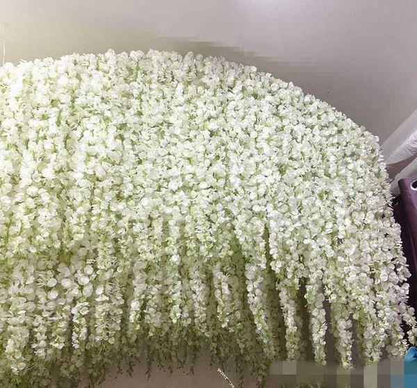 Idéias de casamento glamoroso Elegante Flor De Seda Artificial Wisteria Vine Decorações de Casamento 3 forquilhas por peça Alta Quantidade Longa 72 cm 110 cm