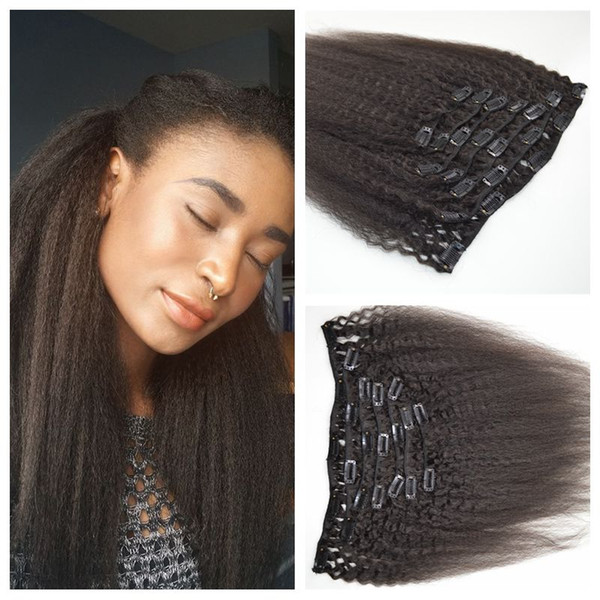 7pcs African American clip in human hair extensions kinky straight human hair weave natural black 120g G-EASY