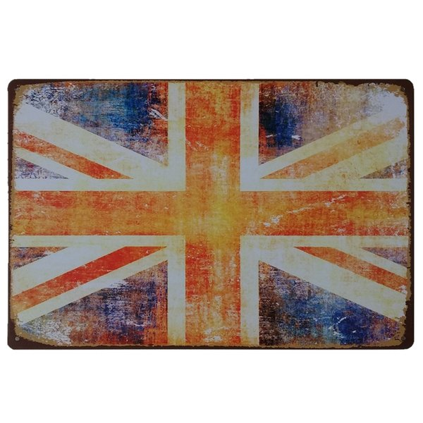 Uk United Kingdom Flag Retro rustic tin metal sign Wall Decor Vintage Tin Poster Cafe Shop Bar home decor