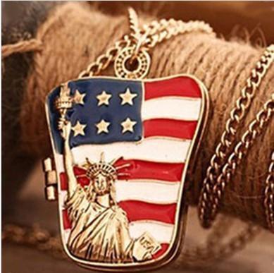 2016 Neueste Gold-Modeschmuck-Kostüm-Legierung amerikanische Flagge Freiheitsstatue hängende Halsketten Kann lange Strickjacke Halskette offen