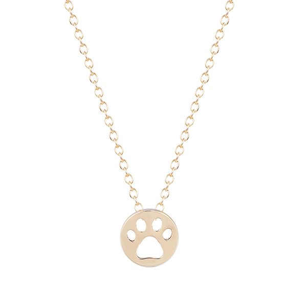 10pcs/lot Hot Creative Dog Paw Print Dye Cut Coin Shaped Animal Necklace Best Pendant Minimalist Jewelry Gift for Girls and Women