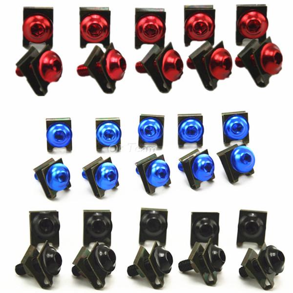 10pcs universelles CNC en aluminium carénage boulons vis de réglage de moto accessoires pour tous les modèles rouge / noir / bleu / argent
